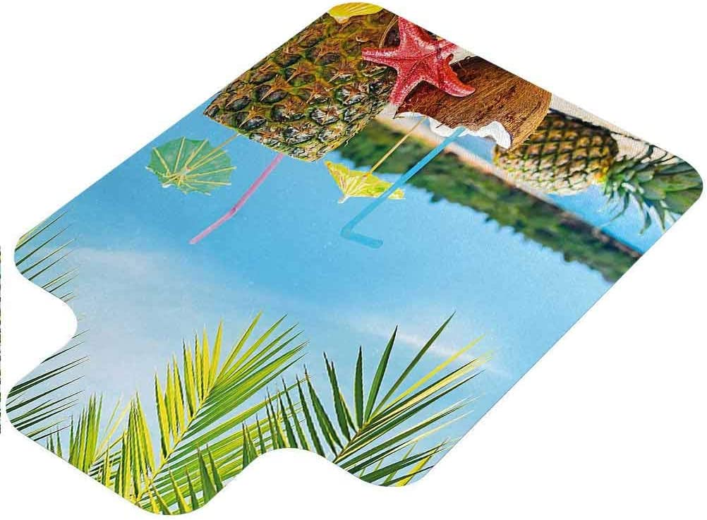 Tropical Office Carpet Chair Mat, Fresh Summer Fruits Coconut and Pine Drinks at Exotic Beach Palm Trees, 36