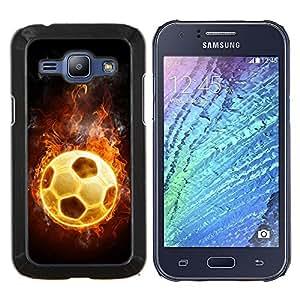 """Be-Star Único Patrón Plástico Duro Fundas Cover Cubre Hard Case Cover Para Samsung Galaxy J1 / J100 ( Universo Fútbol Fuego caliente Juego Flames"""" )"""