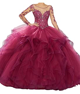 620e8d84b4 Yang Women Sheer Lace Long Sleeve Ball Gowns Tulle Beaded Girls Quinceanera  Dresses