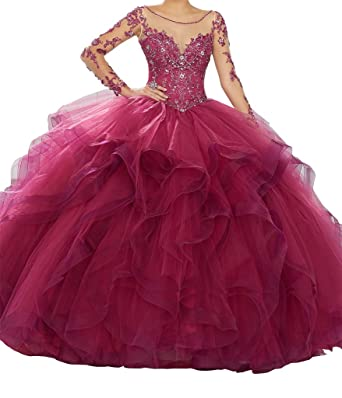 231ae7ee50 Yang Women Sheer Lace Long Sleeve Ball Gowns Tulle Beaded Girls Quinceanera  Dresses 0 US Burgundy