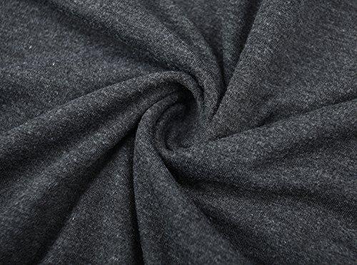 KorMei - Camiseta de manga larga - Asimétrico - Básico - Cuello redondo - Manga Larga - para mujer gris oscuro