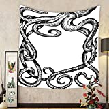 Gzhihine Custom tapestry Ambesonne Octopus Decor Collection Giant Kraken Octopus with Large Tentacles Marine Beast Sketch Style Illustration Print Bedroom Living Room Dorm Tapestry Black White