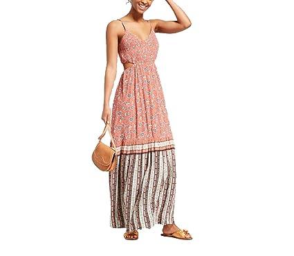 b021d84bebc2 Xhilaration Women's Floral Strappy Smocked Top Cut Out Maxi Dress -  (Orange, ...
