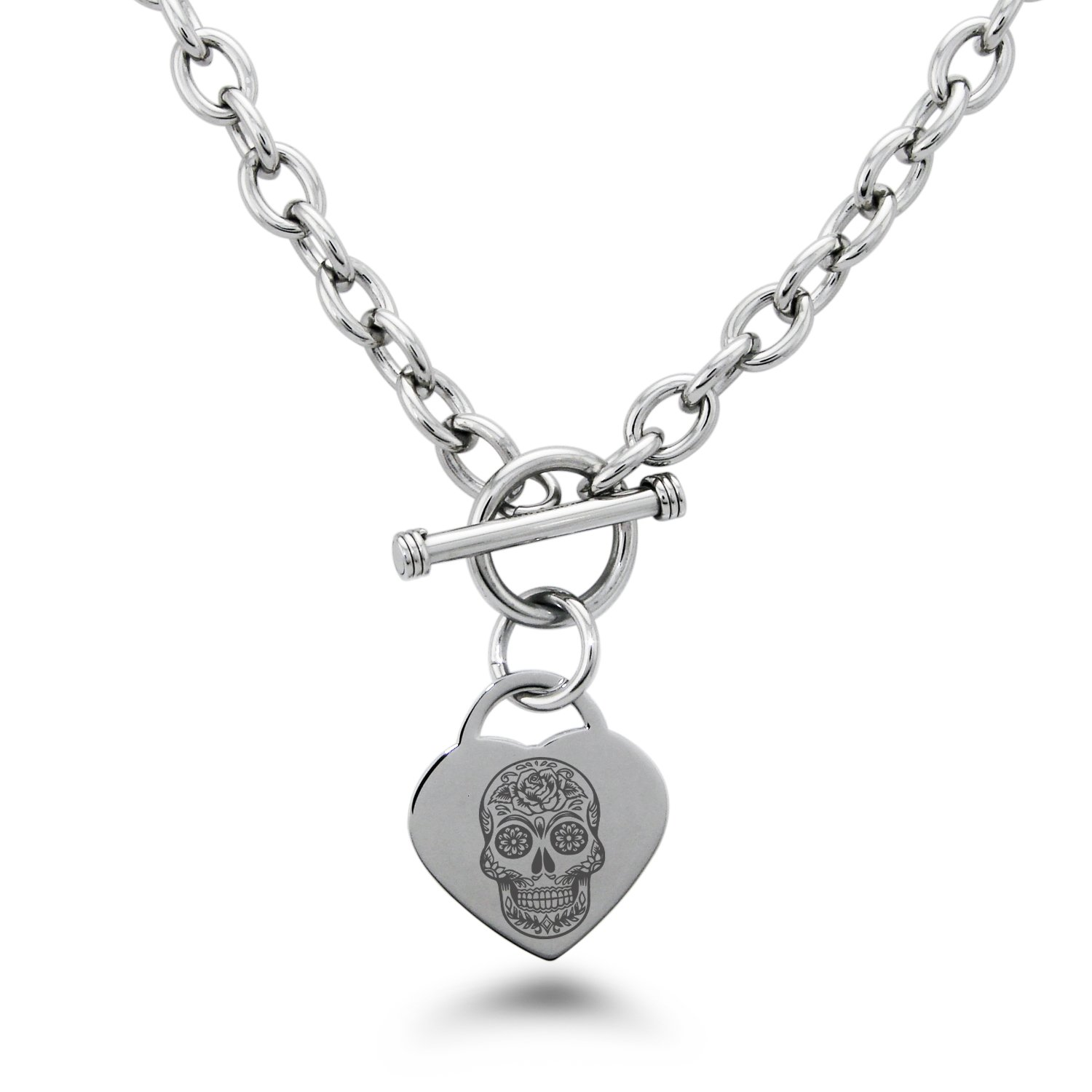 Tioneer Stainless Steel Day of The Dead Sugar Skull Symbols Heart Charm Bracelet /& Necklace