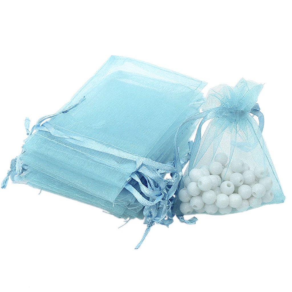 100pcs Pochettes de Cadeaux En Organza Sacs de Bijoux Pochettes Faveurs De Mariage Coloré - Fuchsia, 135mm Generic