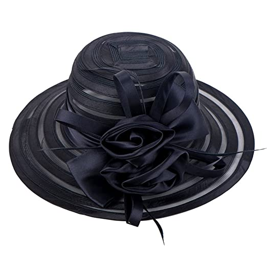 WOMEN S Oganza Sun Hat Cloche Oaks Church Dress Bowler Derby Wedding Hat  Party (Black) 805b24d19667