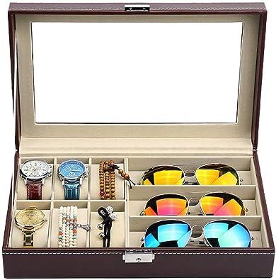 FIONAT Caja para Relojes Cajas para Joyas Hombre Mujer Regalo Viaje Cuero Artificial colección Gafas Expositor Caja de Almacenamiento 30 * 20.5 * 8cm, 6 + 3 marrón: Amazon.es: Joyería