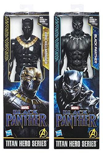 "Black Panther Marvel 2-Pack Black Panther & Erik Killmonger Movie Villain Titan Hero Series Marvel 12"" Super Hero Action Big Figure Set"