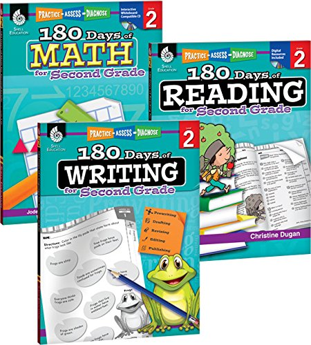 (180 Days of Practice for Second Grade (Set of 3), 2nd Grade Workbooks for Kids Ages 6-8, Includes 180 Days of Reading, 180 Days of Writing, 180 Days of Math)