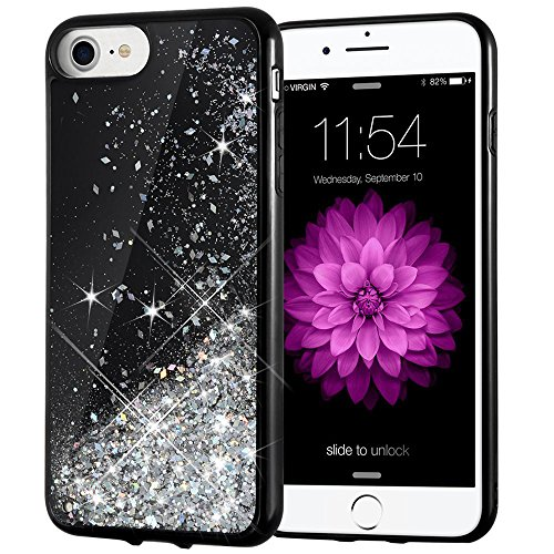 iPhone 7 Case, iPhone 6/7/8 Glitter Case Caka [Starry Night Series] Bling Flowing Floating Luxury Liquid Sparkle TPU Bumper Glitter Case for iPhone 6/6S/7/8 (4.7 inch) - (Silver) Liquid Series