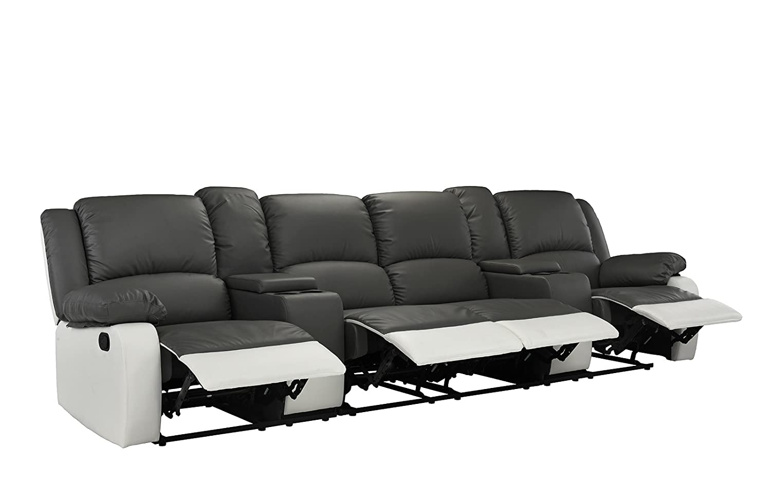 Super 4 Seat Large Classic Recliner Sofa With Cup Holders Home Theater Recliner Couch Grey Andrewgaddart Wooden Chair Designs For Living Room Andrewgaddartcom