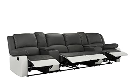 Genial 4 Seat Large Classic Recliner Sofa With Cup Holders, Home Theater Recliner  Couch (Grey