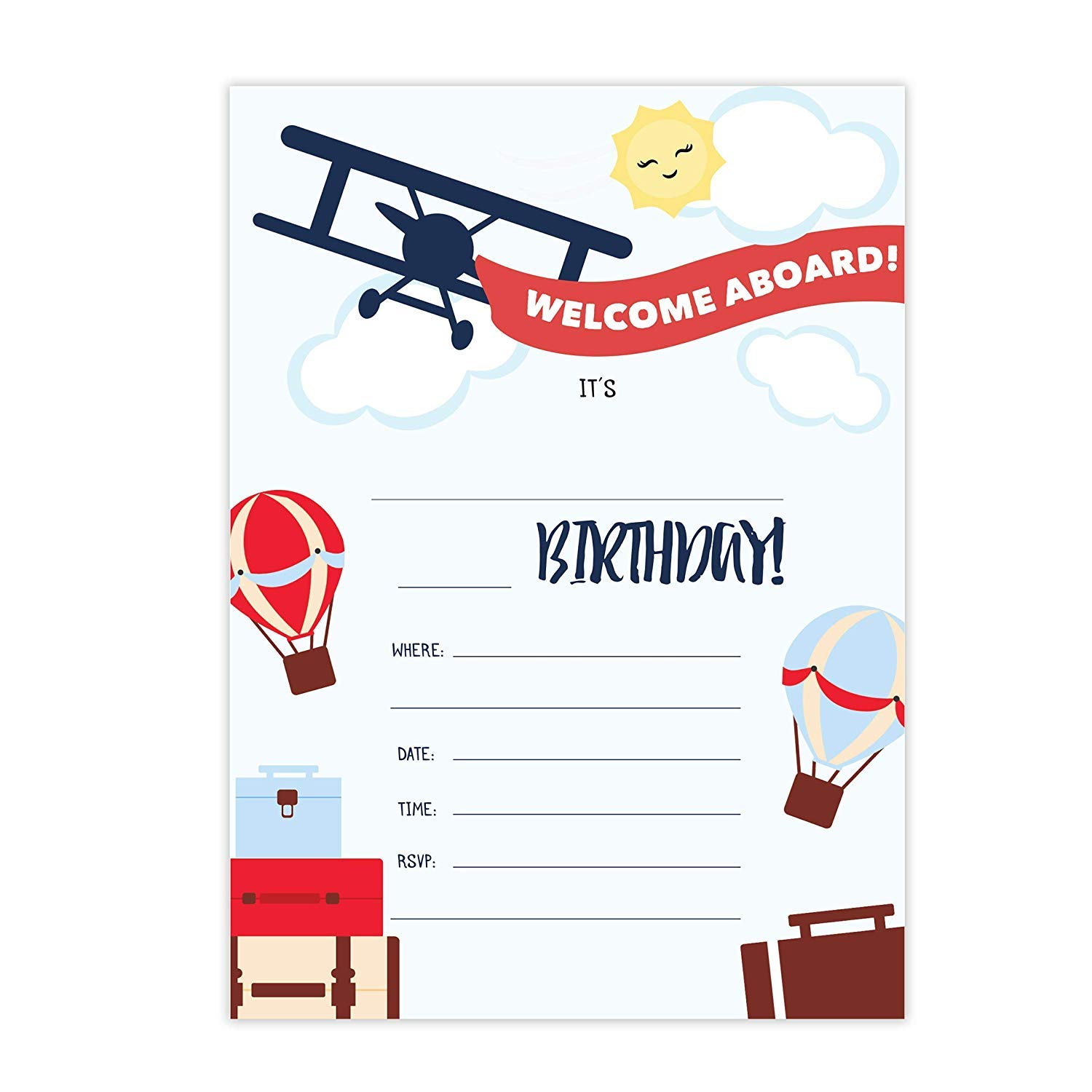 Airplane #1-25 Invitations & 25 Thank You Cards Combo Pack Happy Birthday Invite Cards With Envelopes & Seal Stickers Boys Girls Kids Party (Combo Pack) by Desert Cactus (Image #2)