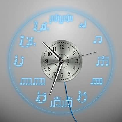 Amazon the geeky days creative round led lighting wall clock the geeky days creative round led lighting wall clock for bedroom living room decor drum notes aloadofball Image collections