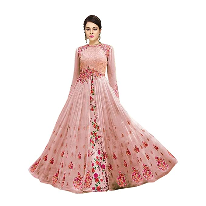 350cdfc043b Style Amaze brings Women's Georgette Embroidered with floral print inner  Semi Stitched Long party wear Anarkali Gown(Pink Color_501-pink) Free Size:  ...
