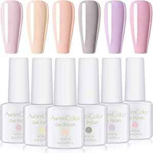 Nail Polish, AwsmColor UV LED Soak Off Gel Nail Polish Kit Pastel Soothing Soft Color Gel Polish Set 2020 6 Bottles 8ML Soft and Feminine Gels for Women Girl DIY at Home Manicure