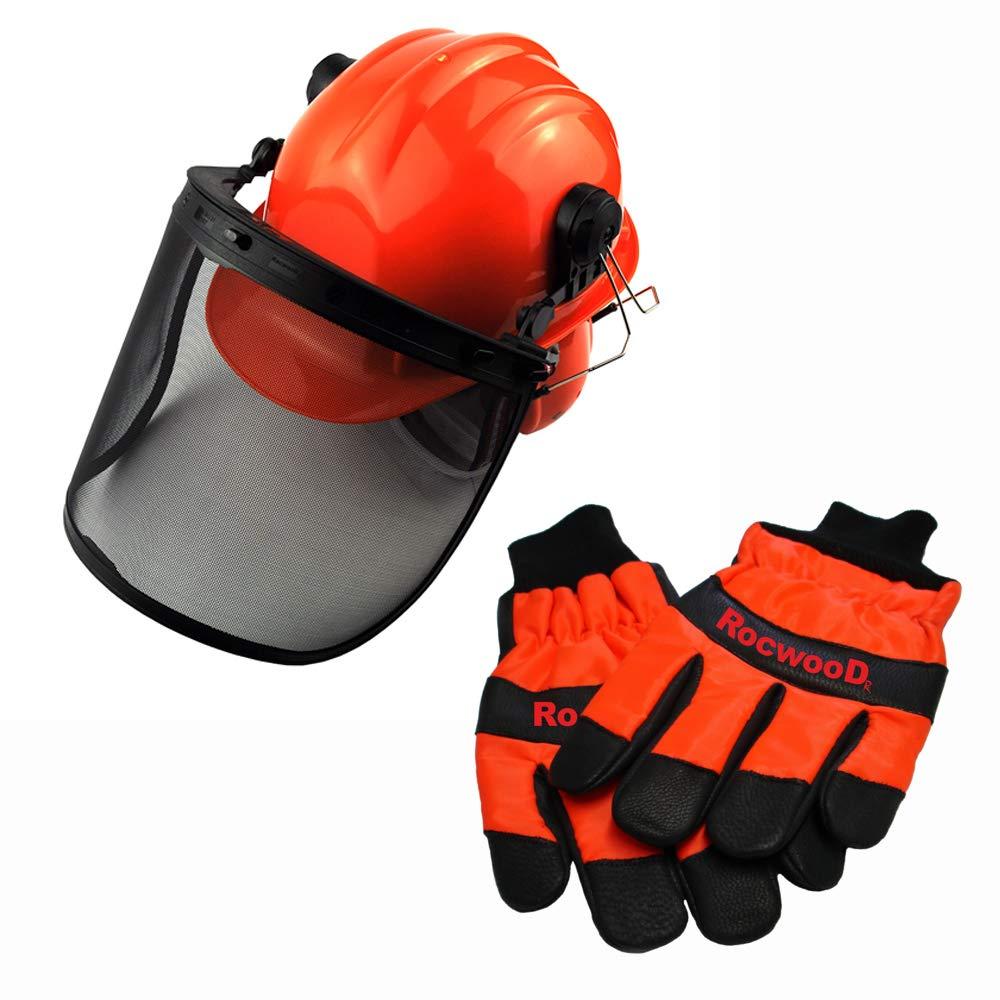 RocwooD - Casco de seguridad con visera y guantes grandes para ...
