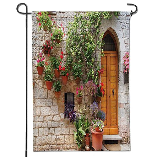 Inspirational Garden Flag Blooming in Box and Wooden Shutter