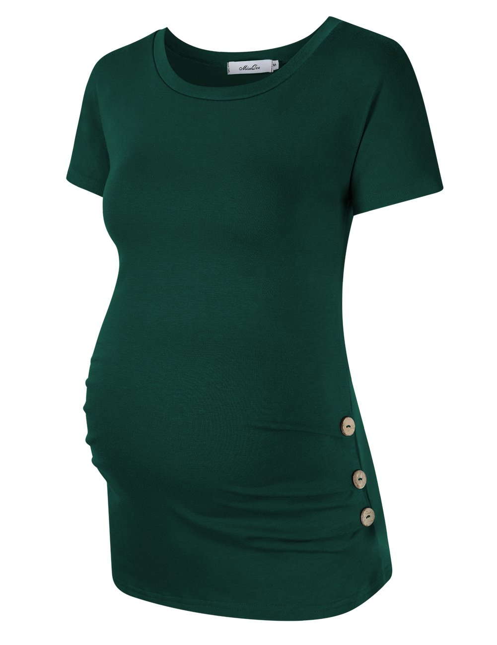 MissQee Maternity Shirt Side Button and Ruched Maternity Tunic Tops Maternity Short Sleeve T-Shirts (L,Green)