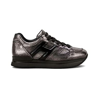 567a70d520 Hogan Sneakers H222 in Metallic Leather Black/Grey, Womens, Size: 36,