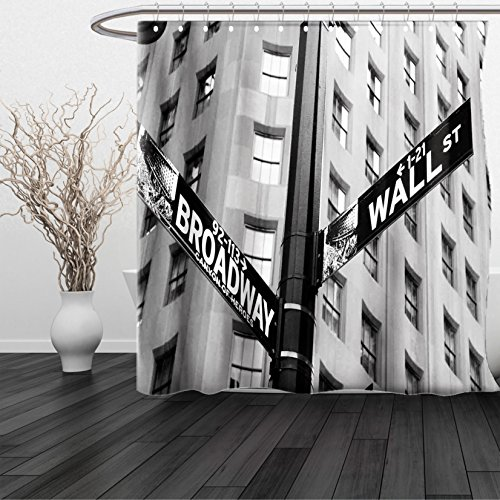 HAIXIA Shower Curtain NYC Street Signs of intersection of Wall Street and Broadway Finance Art Destinations Photo Queen Full Black and - Broadway Eureka