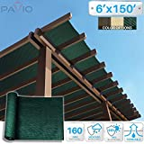 Patio Paradise 6'x150' Sunblock Shade Cloth Roll,Dark Green Sun Shade Fabric 95%UV Resistant Mesh Netting Cover for Outdoor,Backyard,Garden,Plant,Greenhouse,Barn