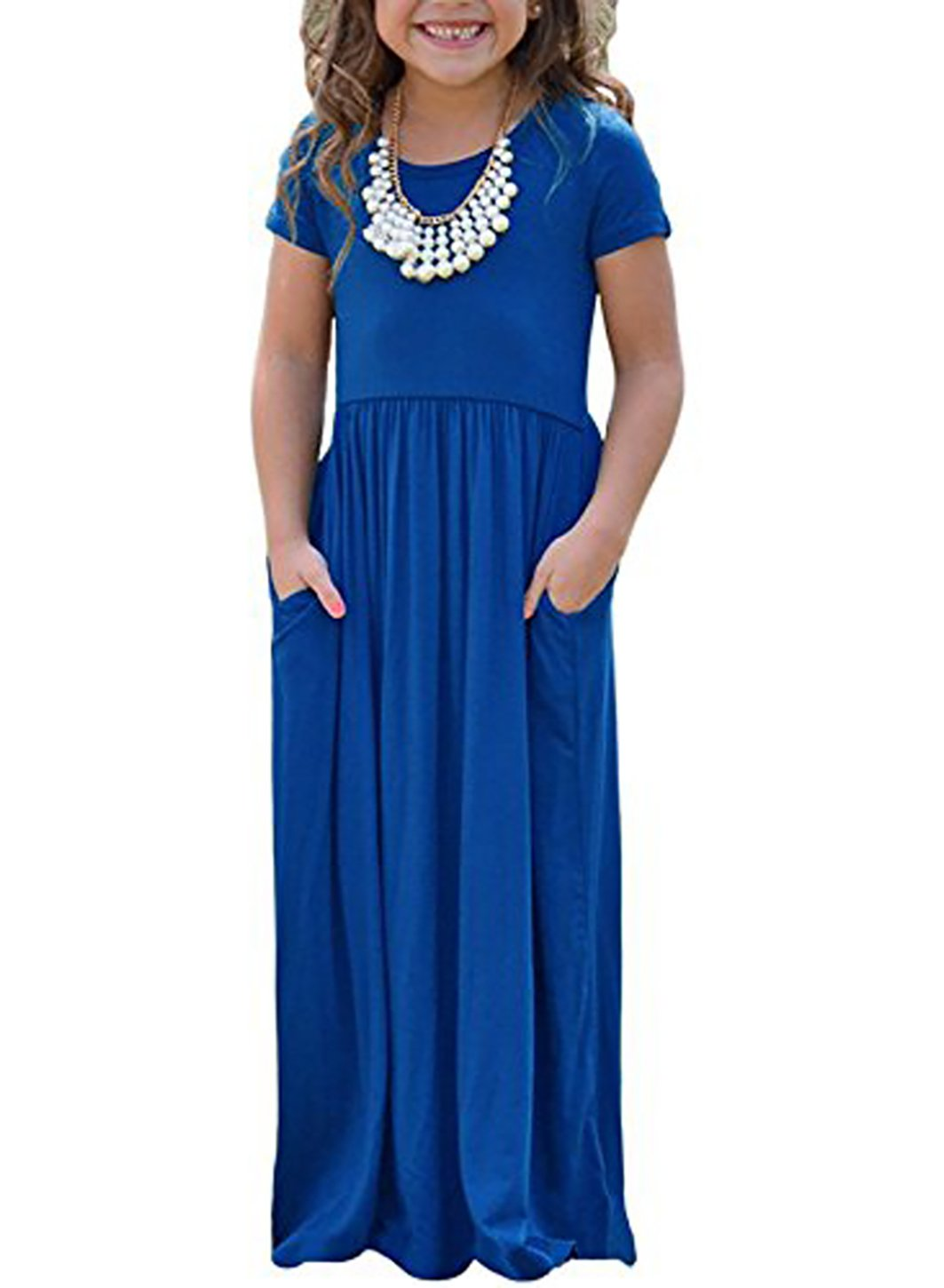 STKAT Girl's Summer Short Sleeve Round Neck Pockets Solid Color Casual Long Maxi Dress,X-Large,Blue