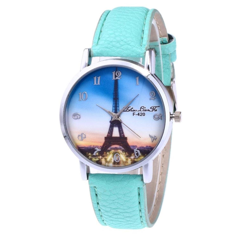 レディースカジュアル腕時計, sinmaタワーパターン腕時計アナログクォーツラウンドブレスレット手首のzhoulianfa B071YVGHJP hot pink
