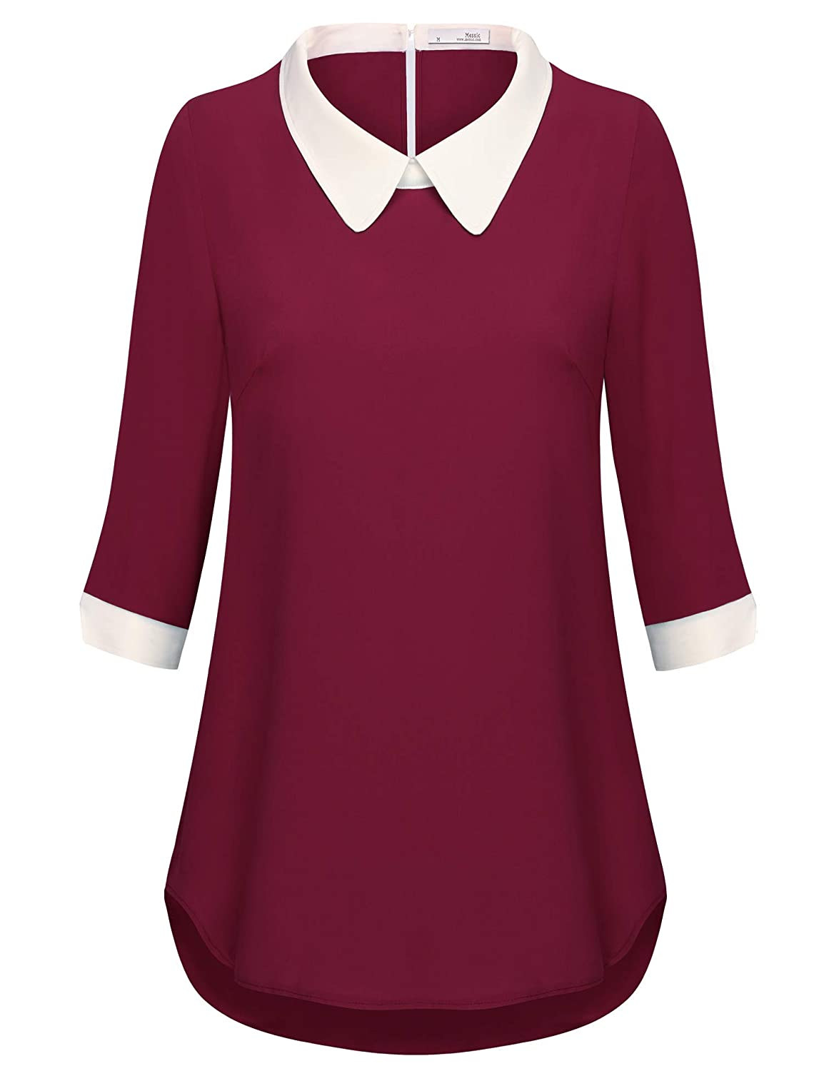 Wine Messic Direct Womens Vintage Tunic Shirts 3 4 Cuffed Sleeve V Neck Pleated Polka Dot Blouse Tops