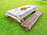Ambesonne Fitness Outdoor Tablecloth, Live Healthy Themed Icon Collection Orange Slice Gym Items Yoga Meditation, Decorative Washable Picnic Table Cloth, 58 X 104 inches, Black White Orange