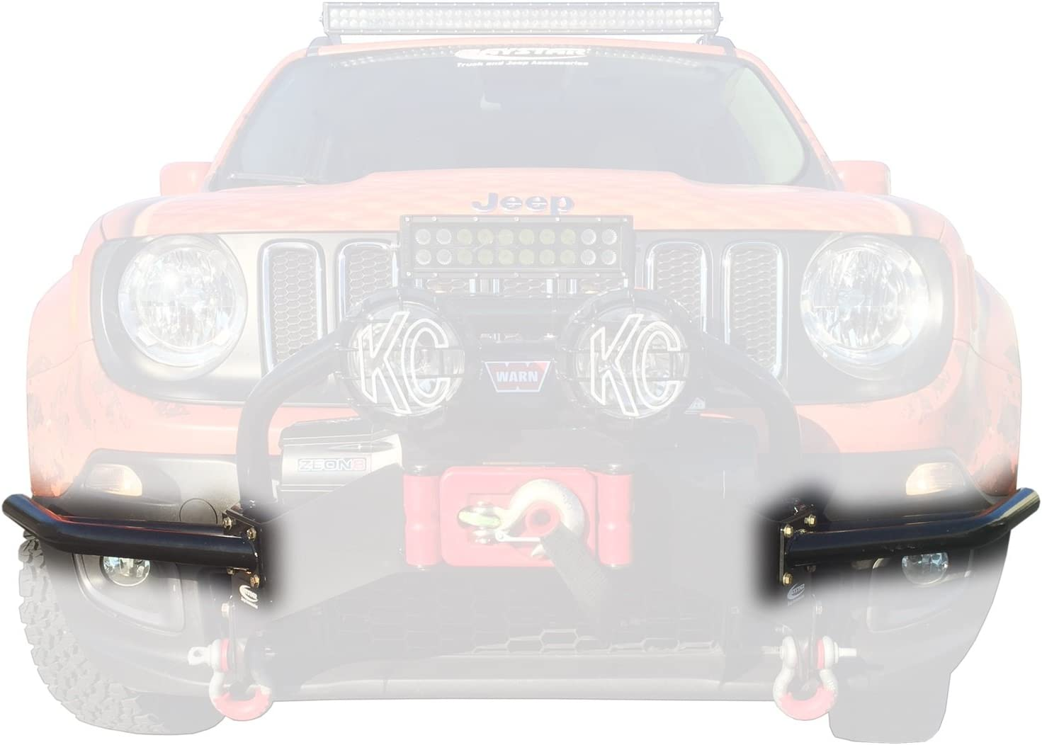 fits 2015 to 2017 2//4WD Daystar KJ50001BK Made in America Jeep Renegade Winch Bumper Guards