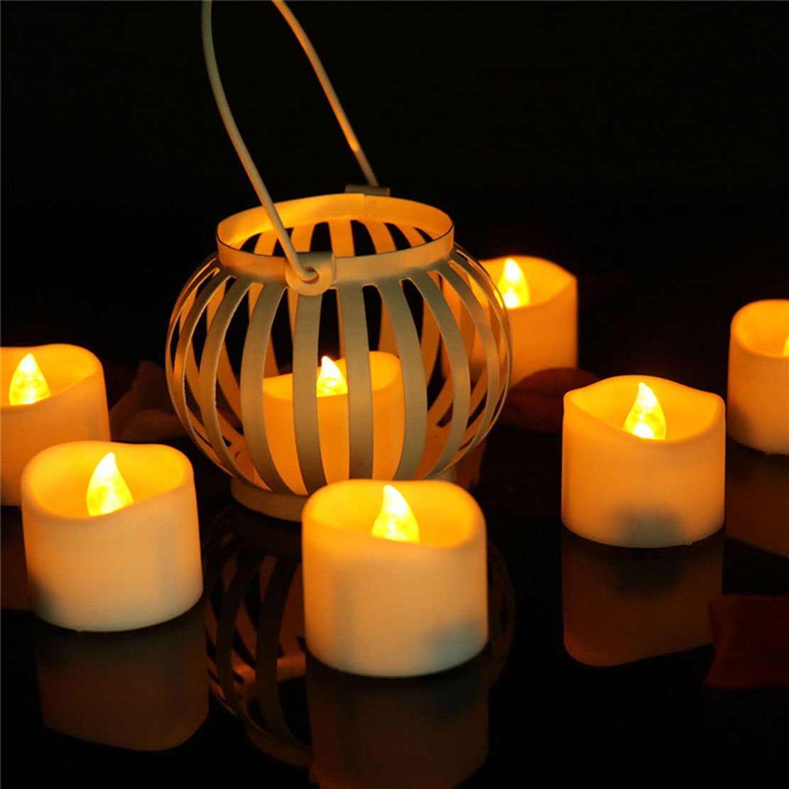 Allcute 24 Wavy Flameless Candle Tealights Battery Operated Long Burning, Amber Yellow Led Flickering Tea Lights Candles for Table Wedding Birthday Party Holiday Decorations