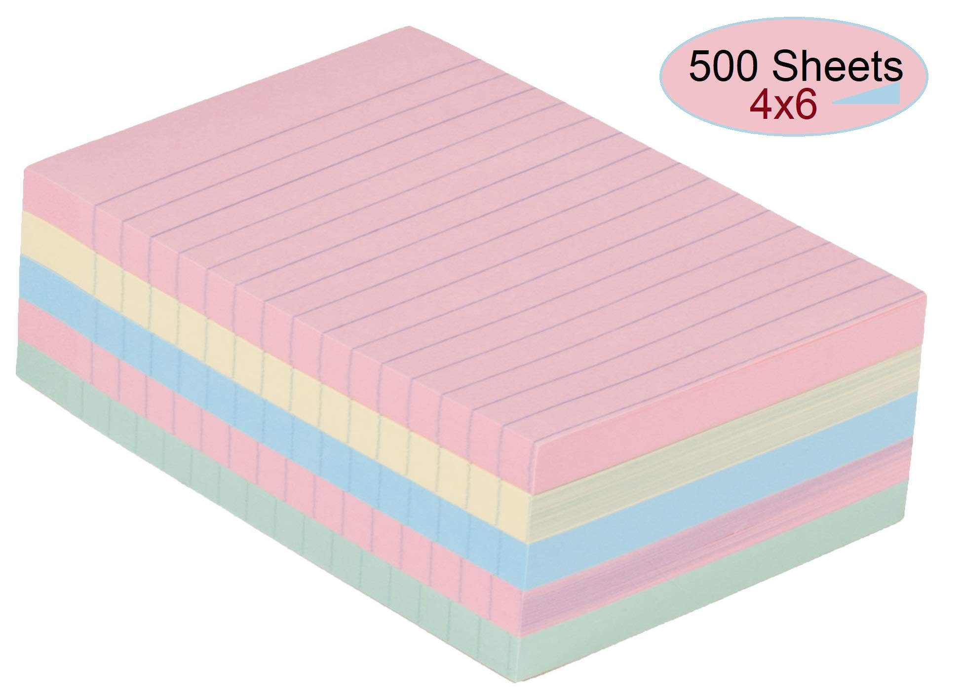 1InTheOffice Sticky Notes 4x6, Lined Assorted Pastel Color Self-Stick Notes 4'' x 6'' 100 Sheets - 5/Pack by 1InTheOffice