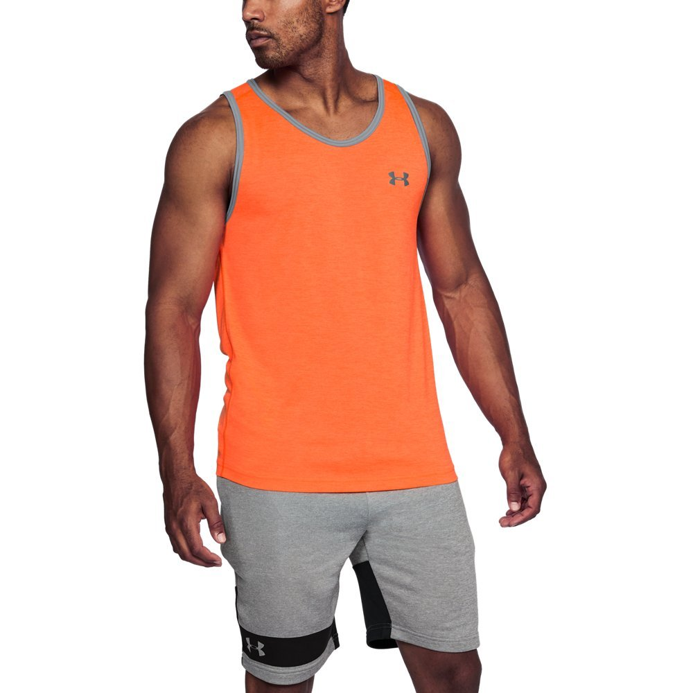 Under Armour Men's Tech Tank Top, Magma Orange (889)/Steel, Small
