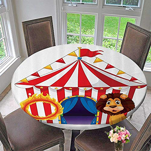 (Mikihome Round Fitted Tablecloth eLi and Fire Ring in Frt of The Circus Tent Lightbulbs Flame Adventure 43.5