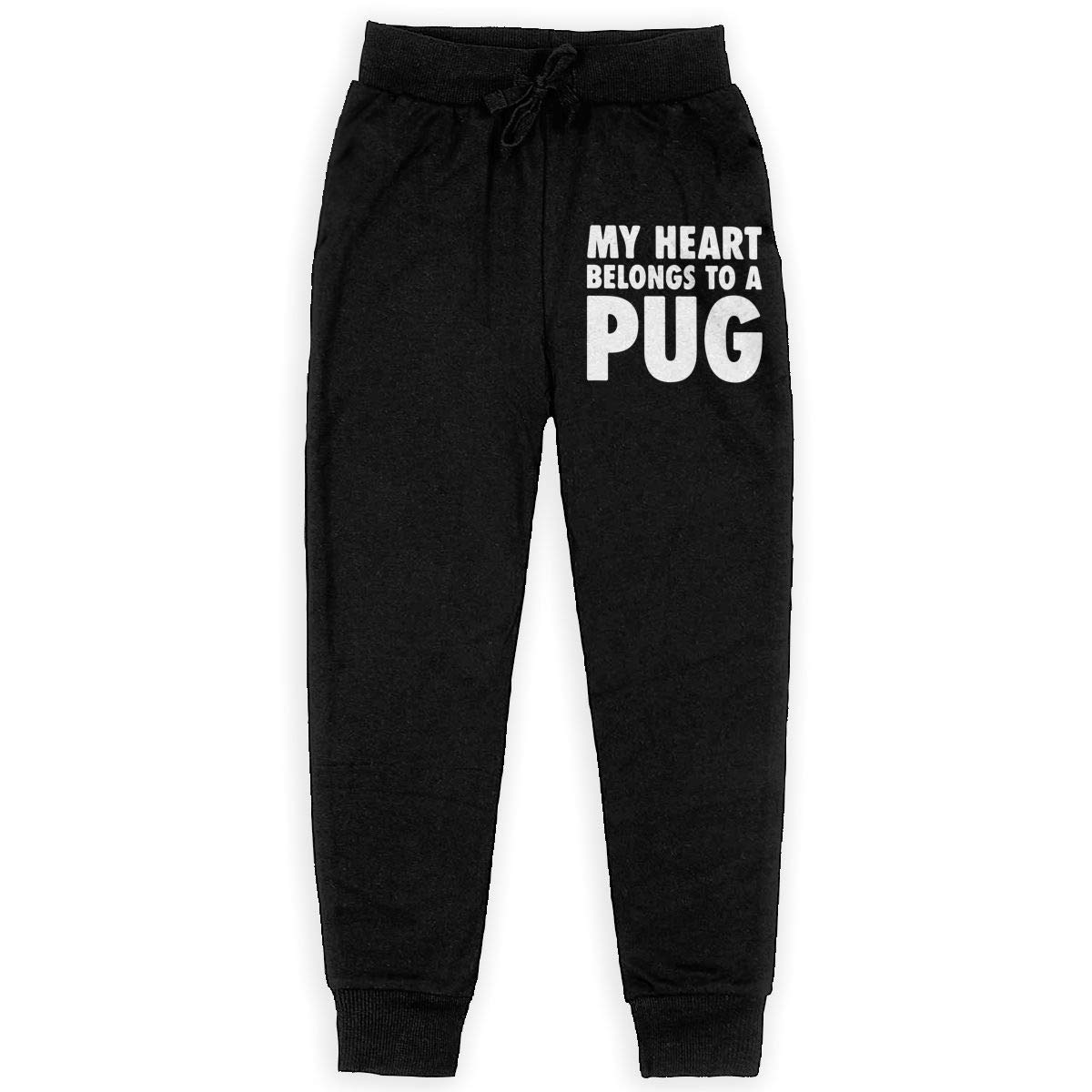 WYZVK22 My Heart Belongs to A Pug-1 Soft//Cozy Sweatpants Girls Trousers Girls for Teenager Boys
