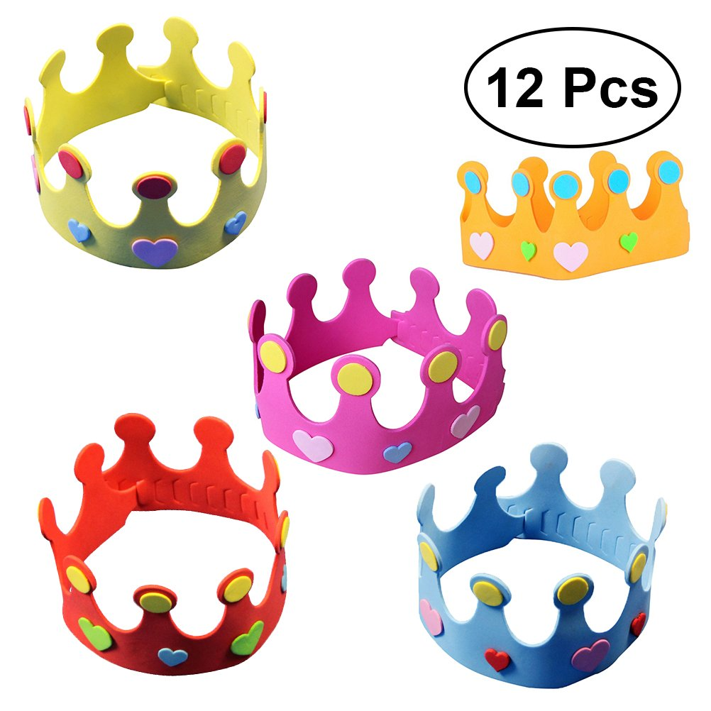 TOYMYTOY Sombrero de la corona del cuarto de niños del sombrero de la corona del cumpleaños de los sombreros DIY del sombrero del partido de 12pcs EVA ...