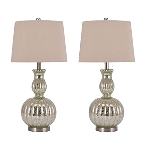 Pauwer Gourd Mercury Glass Table Lamps Set of 2 for Living Room ...
