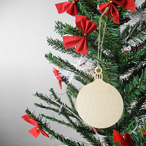 40 Pcs Unfinished Wood Ornaments Wood Slice DIY Christmas Ornaments Hanging Decoration 2.75''x3.6'' with Pre Cut Strings by Cualfec (Image #5)