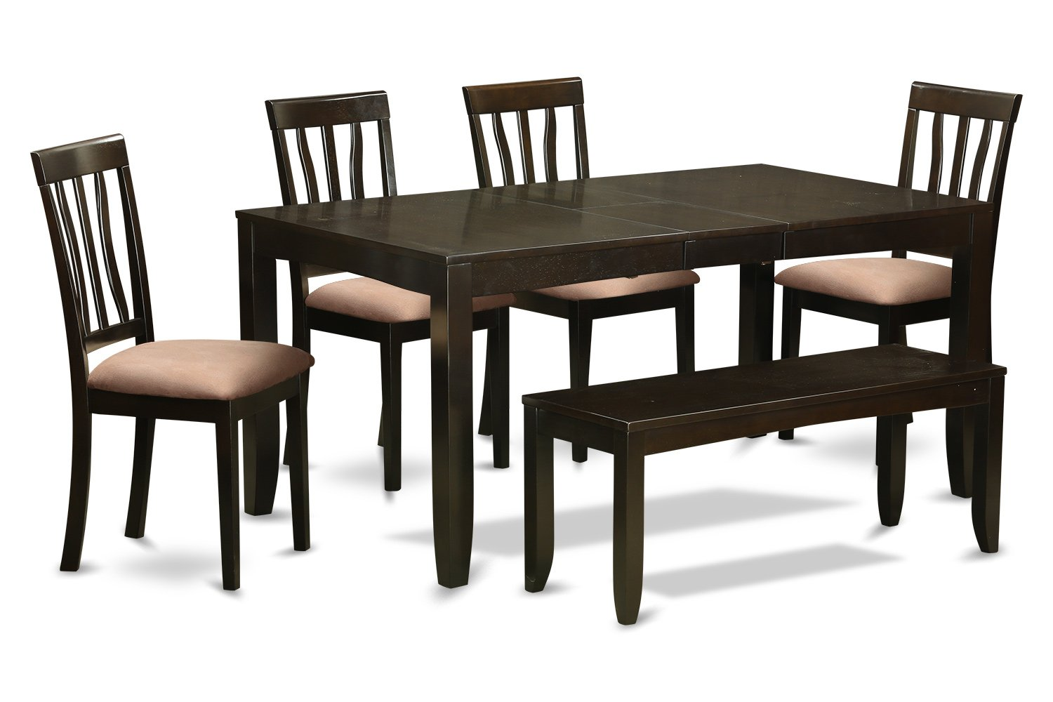 East West Furniture LYAN6-CAP-C 6-Piece Dining Table Set - Cappuccino Finish