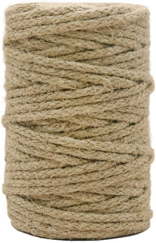 Vivifying Braided Jute Twine, 101 Feet 3.5mm Strong Jute Cord for Garden, Gifts, DIY Crafts (Brown)
