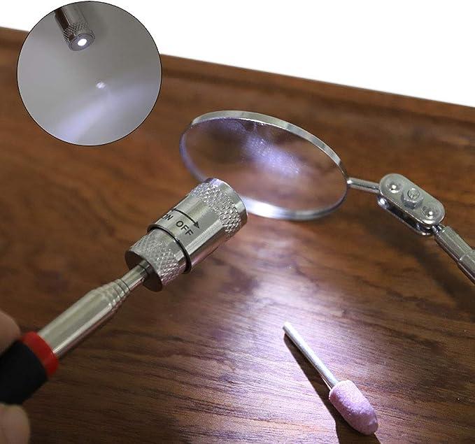 poign/ée t/élescopique pivotante /à 360 degr/és outil de pr/éhension avec lumi/ère LED barre de ramassage de 3,6 kg et miroir dinspection rond//carr/é Lot de 4 outils de ramassage magn/étiques