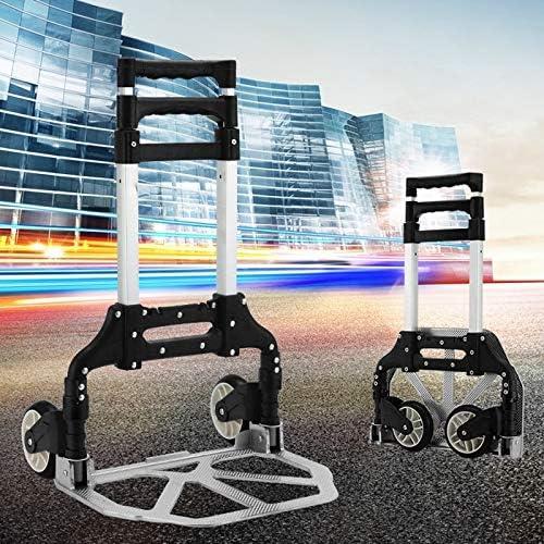 Maleta portátil de aluminio de dos secciones con carrito de transporte portátil, caja de carrito de compras pequeña para el hogar, carga de 75 kg (Color : Negro): Amazon.es: Oficina y papelería