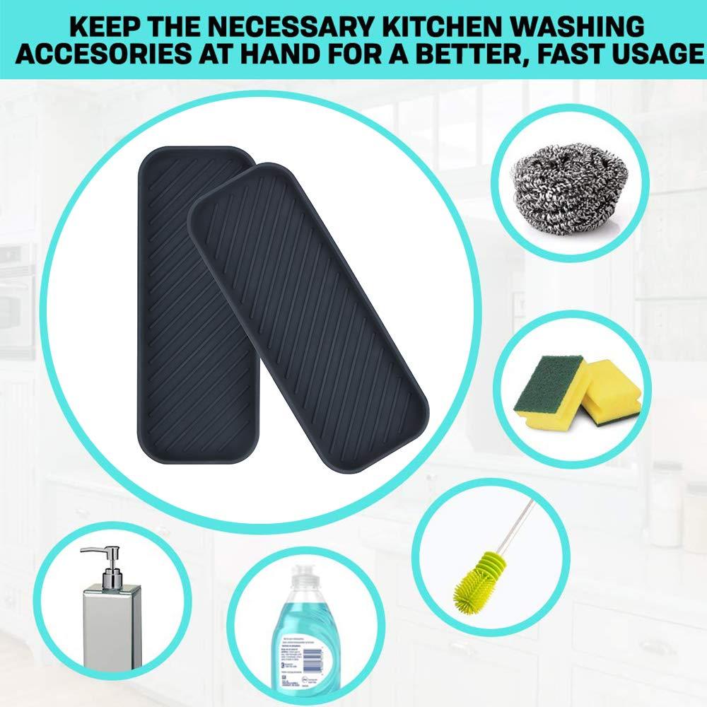 Cepillos o Jab/ón Webake Juego de 2 Organizador de Cocina de Fregadero de Silicona Porta Esponja para Estropajos Negro