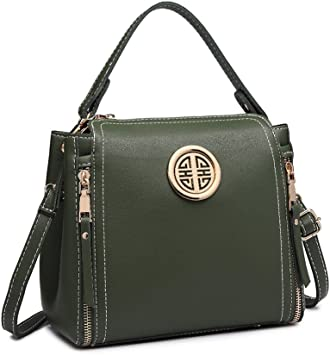 Oferta amazon: Miss Lulu Marca Mujeres Top Mango Bolsa Pu cuero cruzada bolso elegante bolso bolso pequeño clásico para mujer bolso de hombro (Verde)