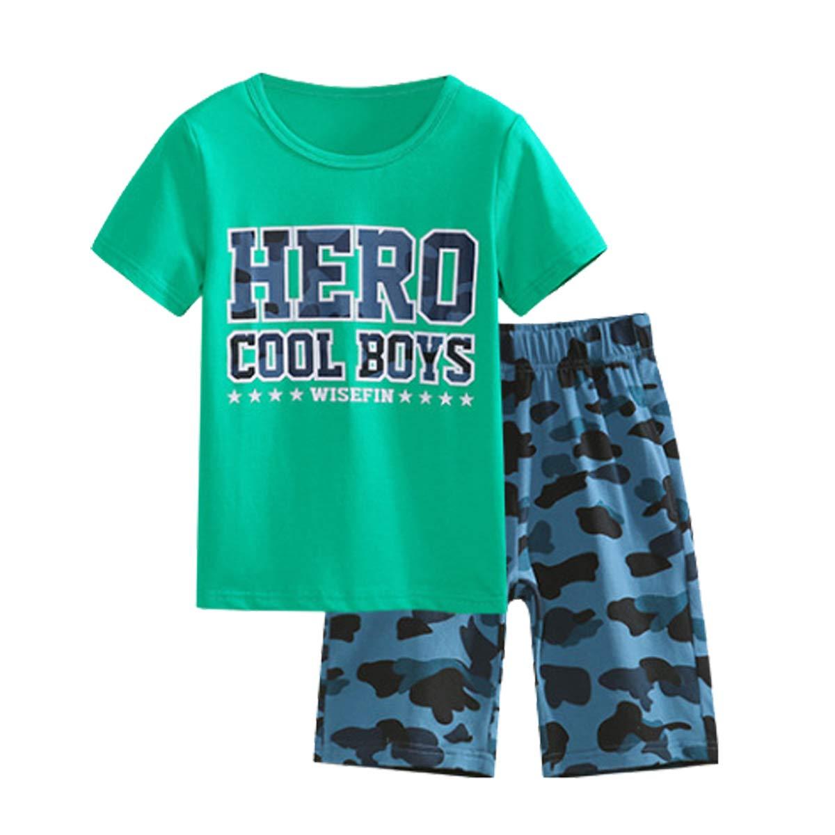 OnlyAngel Boys Cotton Outfits Short Sleeve Tee /& Blue Elastic Waistband Shorts Set Age 4-13