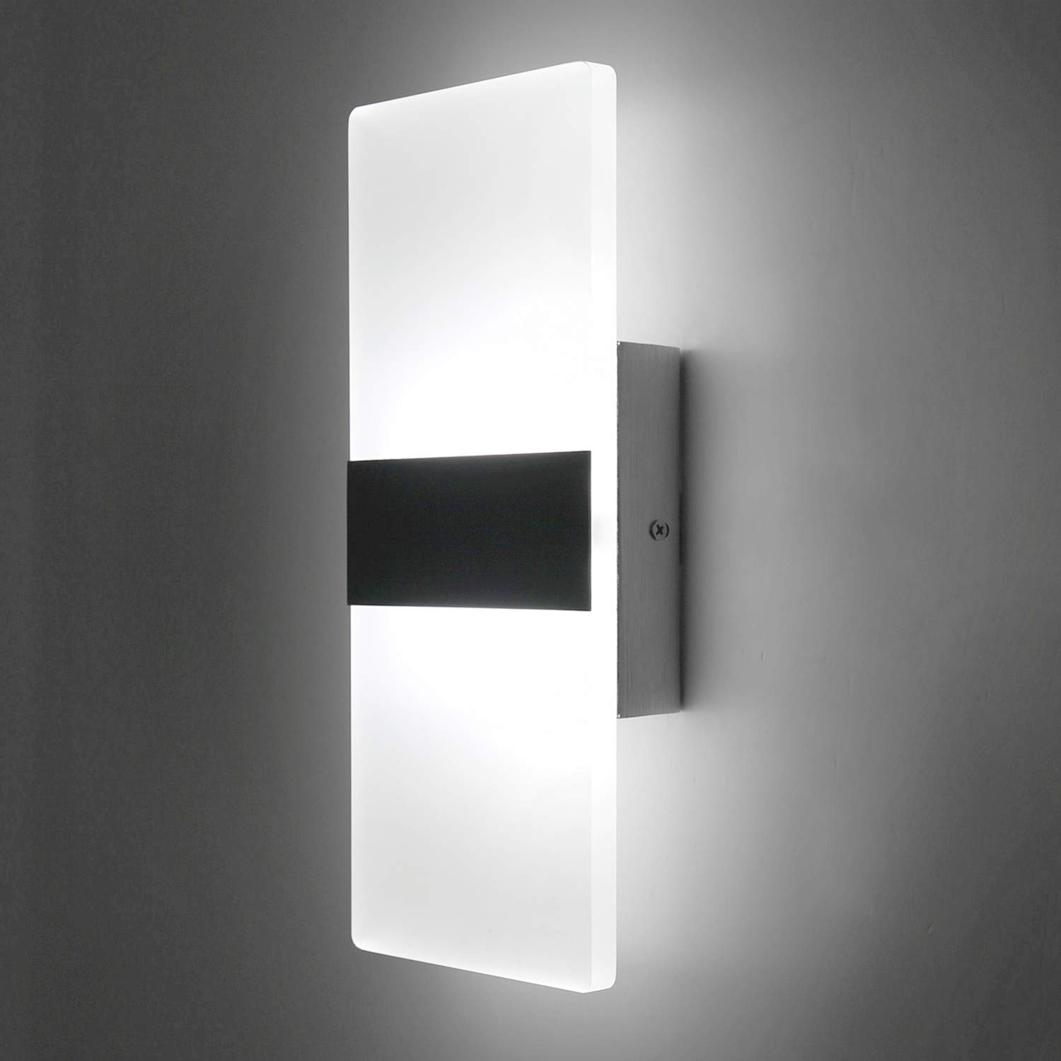 Lightess up down wall light 12w modern wall sconce acrylic led wall lamp for hallway bedroom corridor cool white hs521 1