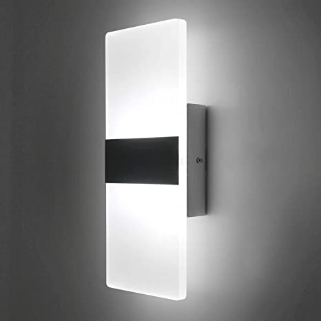 timeless design ab0cc ebcfc Lightess Up Down Wall Light 12W Modern Wall Sconce Acrylic LED Wall Lamp  for Hallway Bedroom Corridor, Cool White, HS521-1