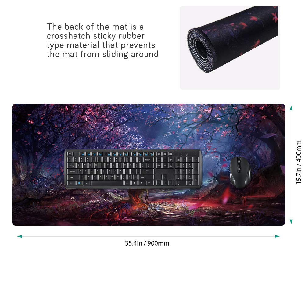 Cmhoo RGB Gaming Mouse Pad Large 90CMx40CM Oversized 10 Lighting Mode Thick Glowing LED Extended Mousepad ,Non-Slip Rubber Base Computer Keyboard Pad Mat CA 90x40 RGBsenlin