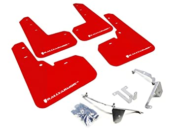 Rally Armor MF26-UR-RD/WH Red, White Mud Flap with Logo (13+ Subaru XV Cross Trek)